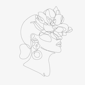 花の構成を持つ女性の頭