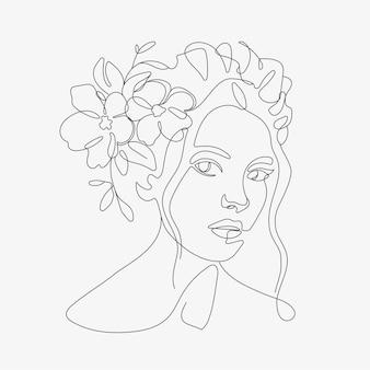 Женская голова с цветочной композицией