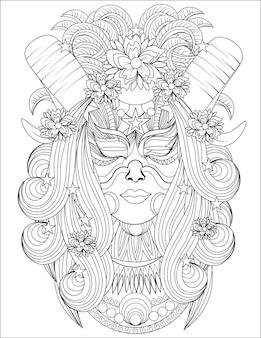 らせん状の角を持つ女性の頭長い髪正面図無色の線画角のある女性が直面している