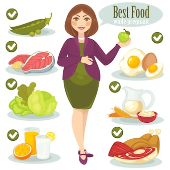 Woman, healthy food for pregnant.