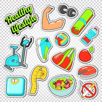 Woman healthy life doodle with sport elements