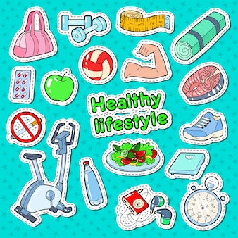 Woman healthy lifestyle doodle with sport elements and diet food