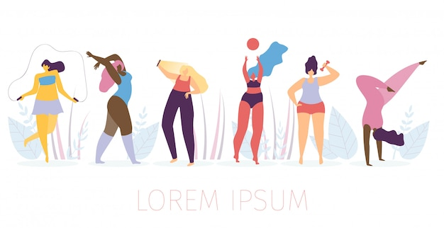 Woman healthy lifestyle flat vector concept