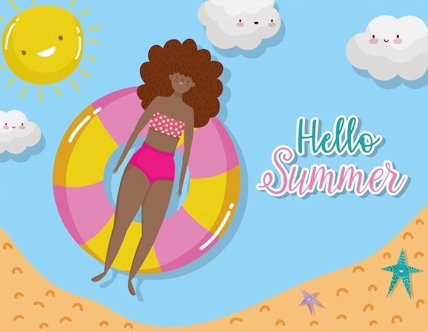 Woman hello summer holiday