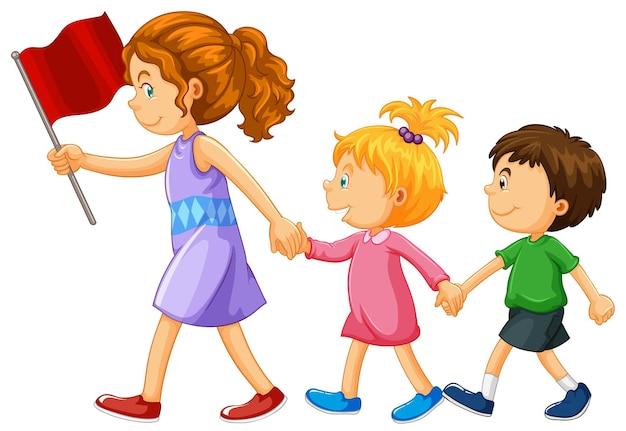 거리를 횡단하는 어린이를 돕는 여자
