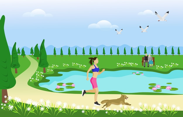 The woman and her dog are jogging on the way in the park