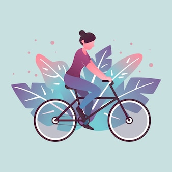 Woman and her hobby or daily activity, cycling outdoors