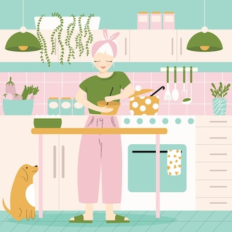 A woman in her kitchen with food and dog. home atmosphere, healthy food, world food day. flat