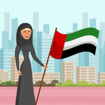 Woman in hijab visit city flat vector illustration