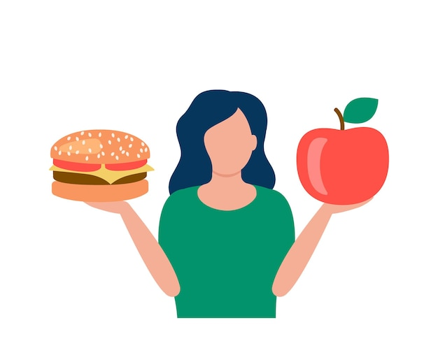 Woman hold hamburger and apple in hands choice between healthy and unhealthy food good vs bad meal