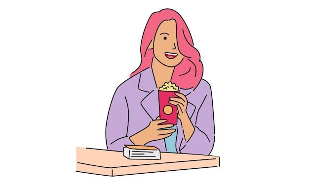 Женщина держит поп-корн