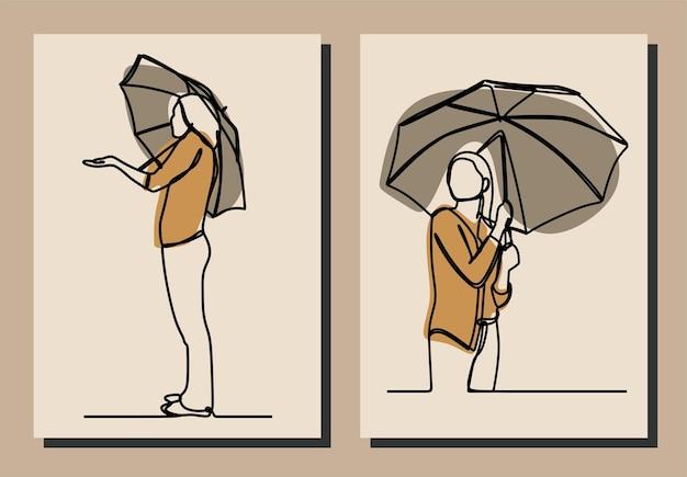 여자 보유 우산 한 줄 연속 프리미엄 벡터