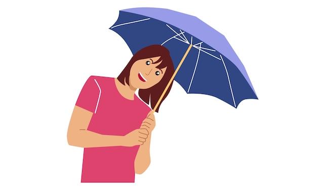 女性は傘を持っています