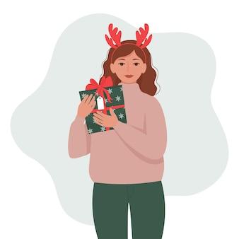 Женщина, держащая подарочную коробку, присутствует симпатичные векторные иллюстрации в плоском стиле
