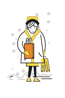 女の子、たくさんの、買い物、バッグ、歩くこと、通り、歩くこと。寒さと雪の天気。フラットな細線の文字デザイン。ベクトルイラスト