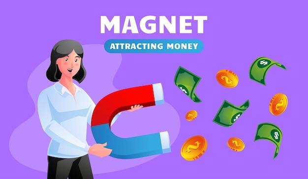 Женщина, держащая магнит, привлекает деньги