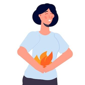 Женщина, держащая живот. концепция проблемы изжоги и желудка. векторная иллюстрация.