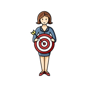 Woman holding aim sign. goal achieving. infographic element. vector character