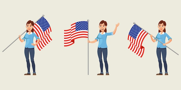 Woman holding american flag in different poses illustration