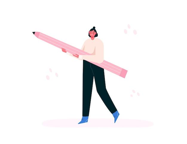 큰 연필 들고 여자입니다. 창조적 인 소녀. 예술가, 화가, 디자이너. 평면 그림.