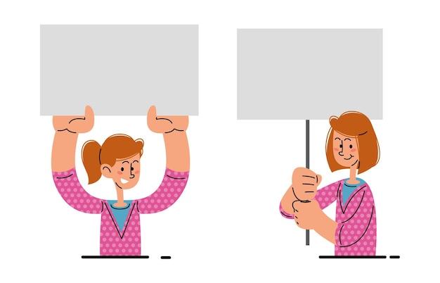 Woman holding blank banner vector illustration set