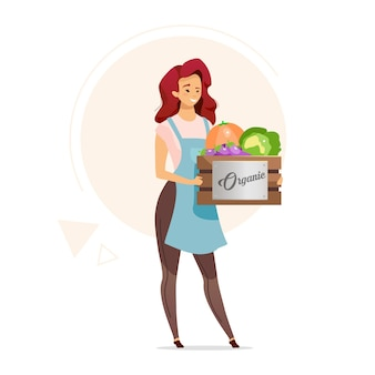 Женщина, держащая коробку органических овощей плоского цвета. женщина-фермер. сельское хозяйство. продавец здоровой пищи. магазин снабжения. розничная торговля продуктами питания. изолированные мультипликационный персонаж на белом