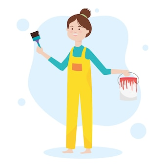 Woman holding bucket paint brush color