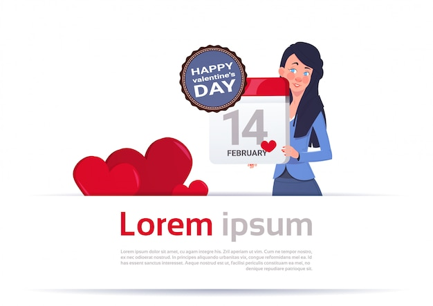 Woman holding calendar page 14 february happy valentines day concept