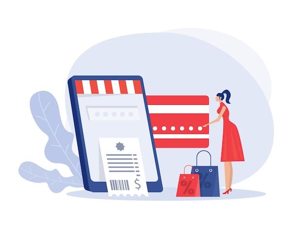 신용 카드와 전화를 들고 구매 온라인 그림을 만드는 여자.