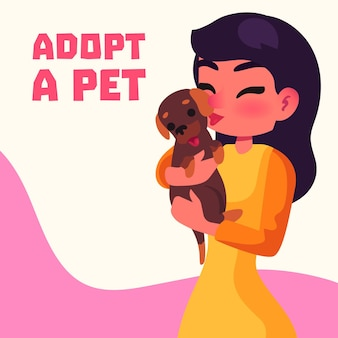 Woman holding cute adopted pet