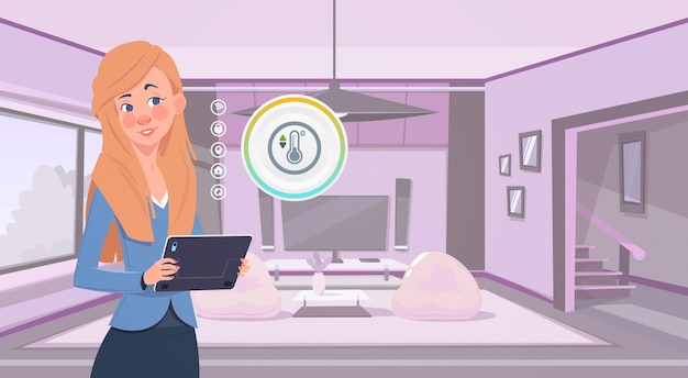 Woman holding digital tablet using smart home app over living room background modern technology of house monitoring concept