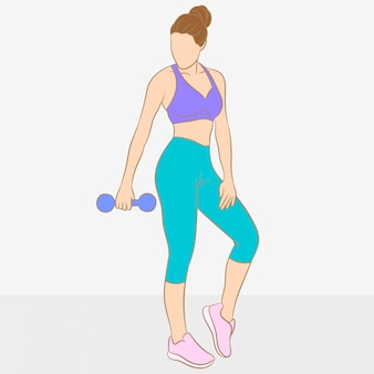 Woman holding dumbbell in her hand