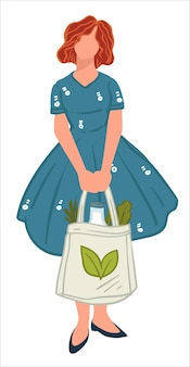 Woman holding ecologically friendly shopping bag in hands. isolated personage caring for nature and impact on earth. tote handbag with emblem of green leaf. zero waste lifestyle. vector in flat style