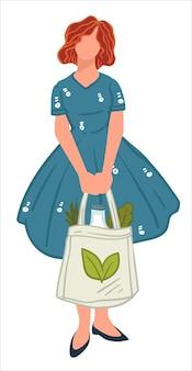 環境にやさしい買い物袋を手に持った女性。自然と地球への影響を気遣う孤立した人物。緑の葉のエンブレムが付いたトートバッグ。ゼロウェイストライフスタイル。フラットスタイルのベクトル