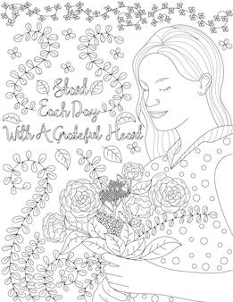 Женщина, держащая букет цветов с листовым фоном, бесцветная дама с закрытыми глазами рисования линий