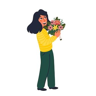 꽃다발을 들고 여자