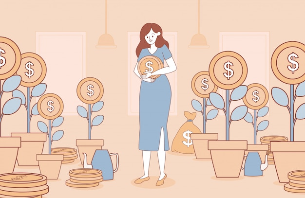 Woman holding gold coin cartoon outline illustration. business concept for investment.