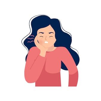 Woman holding her cheek because of toothache. flat   cartoon design