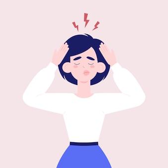두통이나 우울증을 겪고 있는 동안 두 손으로 머리를 잡고 있는 여성