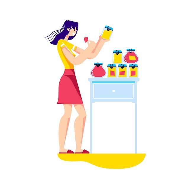 Женщина, держащая банки домашнего варенья из свежих фруктов и ягод