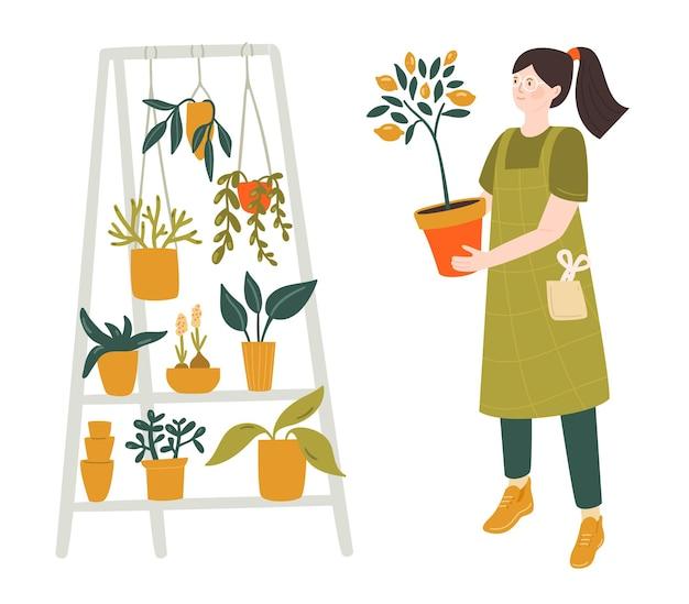 레몬 나무 냄비 집 식물을 들고 여자는 열대 꽃 도시 정글 그림을 서
