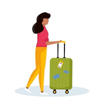 冒険旅行、旅行のための荷物を保持している女性。旅行者のためのスーツケース、手荷物を備えた旅の装飾的なデザイン。フラット漫画トレンディなベクトル。
