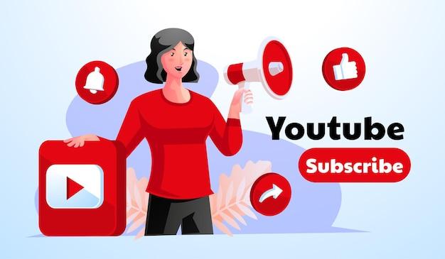Женщина держит мегафон, продвигая аккаунты youtube