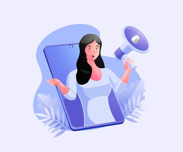 Woman holding megaphones, marketing strategy promotion concept