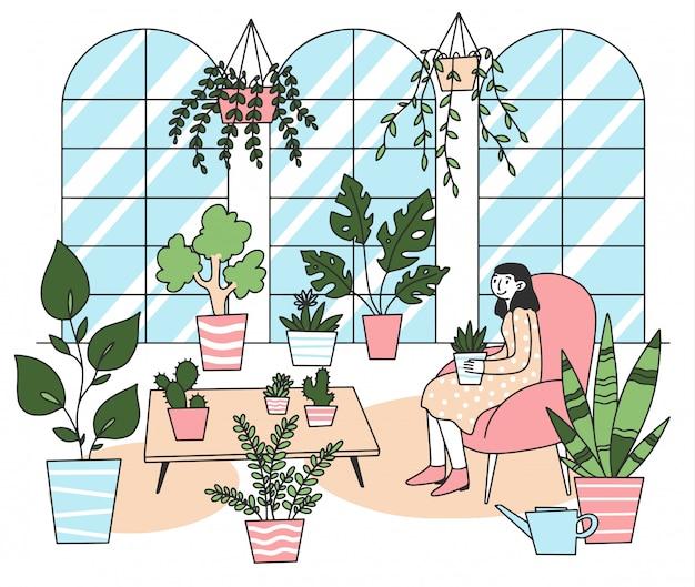 鍋イラストで植物を保持している女性