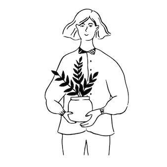 植物と鍋を保持している女性。若い女性キャラクター、エコライフスタイルコンセプトイラスト。ライン落書きベクトルの肖像画。