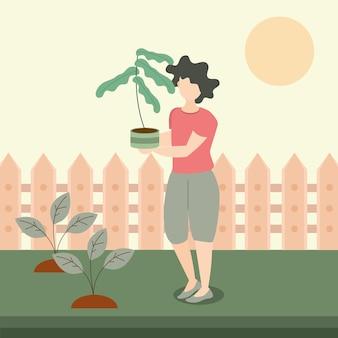 裏庭で鉢植えの植物を保持している女性、ガーデニングのイラスト