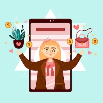 Woman holding purse and plant marketing mobile phone concept