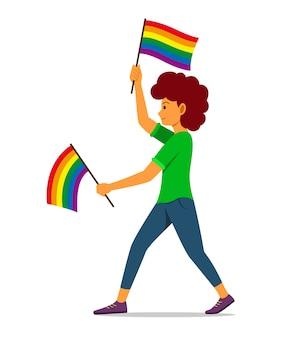 Женщина держит флаг радуги для движения лгбт.