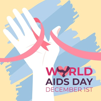 Woman holding a red ribbon on world aids day illustration